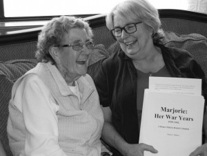 "Marjorie is happy to see the manuscript for ""Marjorie: Her War Years. A British Home Child in Canada."" The story of her day to day life at the Prince of Wales Fairbridge Farm School, on Vancouver Island, BC. Release date: August 2018."
